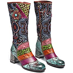 gracosy Botas de Cuero Mujer Otoño e Invierno 2019 Tacon Alto Estilo Bohemio Corte Retro Hecho a Mano Botas de Nieve Patrón de Flores Zapatos Calientes En el Medio Colorido