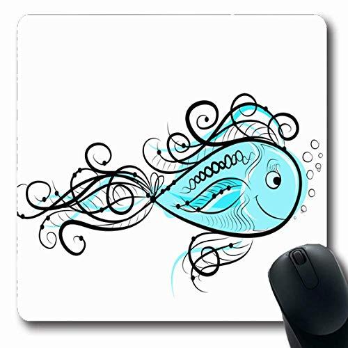 Luancrop Mousepads für Computer Food Blue Aqua Sketch Lustige Fische Ihre Marine Abstract Aquarium Aquatic Cute Design Floral rutschfeste längliche Gaming Mouse Pad -