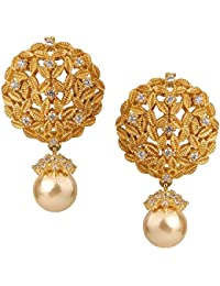 Sri Shringarr Fashion Traditional Micro Gold Polished American Diamond Earrings for Women.(EAR668ON)