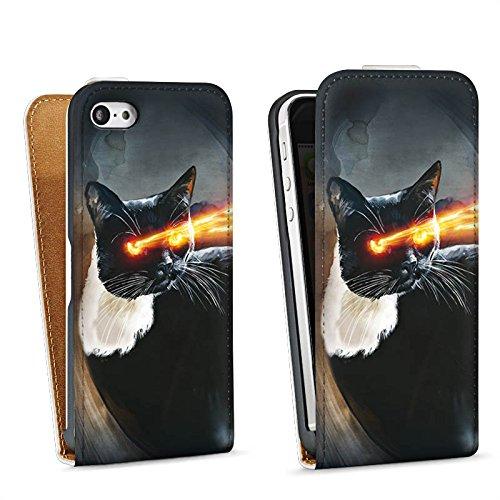 Apple iPhone 4 Housse Étui Silicone Coque Protection Chat Laser ¼il Sac Downflip blanc