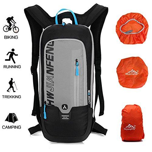 6L Kleiner Damen Herren Fahrradrucksack mit Wasserdicht, Ultraleicht Fahrrad RücksackOutdoor Trinkrucksack Reiserucksack Sportrucksack Tagesrucksack von Ultrashang (Grau)