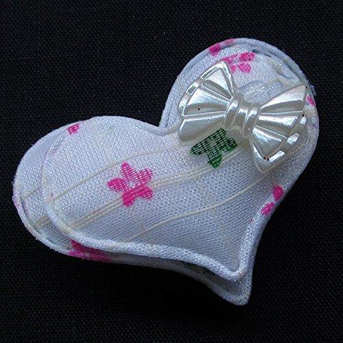 Juqian 40mm imbottito feltro dolce cuore strass Appliques DIY Craft 60PCS (Imbottito Applique Craft)