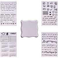 PandaHall Elite - 15pcs Buffer/Seal Silikon Seal Pattern Transparent Silikon Stempel für DIY Scrapbooking Fotoalbum Dekorative, Stempel Blätter, Transparent, 10~21.5x10~20cm