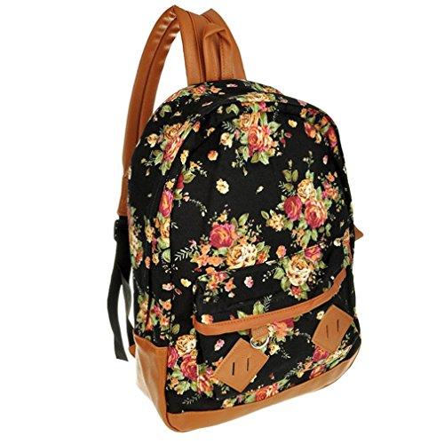 SODIAL(R) Escuela Flor muchacha de las mujeres senora de la lona de la vendimia Libro Mochila Mochila Satchel - Negro