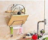 WEBO HOME- Edelstahl Deckel Rack mit Wasser Tablett Küche Kleiderbügel Wand Board Board Schneidebrett Schneidebrett Shelf -Regal