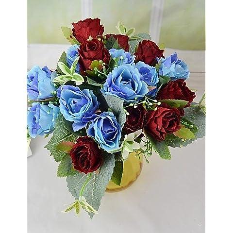 flores artificiales, romántica 9 cabezas de seda ramo de rosas con hojas para la decoración del partido en casa , light pink