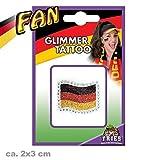 FAN Glimmer Tattoo Fan-Fahne Hautaufkleber Fan Fahne Glimmertattoo ca 2 x 3 cm schwarz rot gold