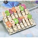 honeysuck creativo colorido Número de madera clavijas de ropa Clips de fotos de estilo 14