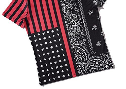 Pizoff Unisex Schmale Passform V-Ausschnitt T Shirts mit Bunt 3D Digital Print Muster Y1781-06