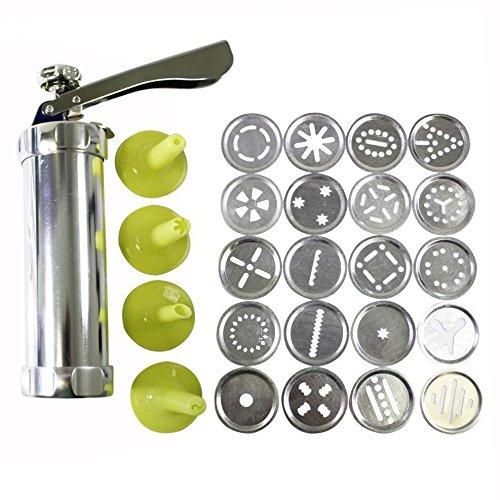OFKPO Cookie Press Aus Aluminium,Gebäckpresse mit 20 Aufsätzen und 4 Spritzaufsätzen