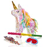 Lumaland Pinata set Holographic Magic Unicorn irridescent Rainbow Glitter Style with stick, confetti bag & paper mask