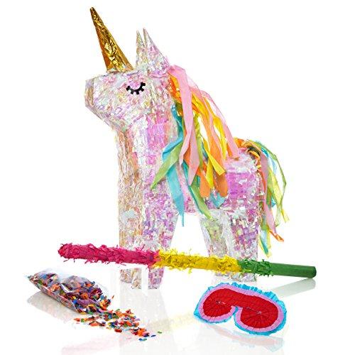 Lumaland Set de piñata para Rellenar, Palo Aprox 50 cm, Careta, 50 gr de confetiEinhorn Unicornio mágico ca. 40x14x54 cm