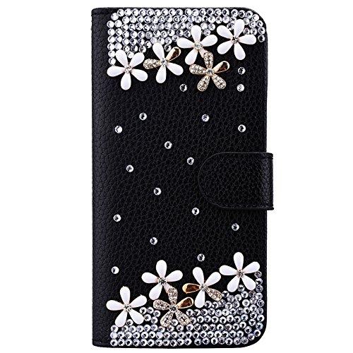 Coque iPhone 7, Yokata Flip PU Cuir Portefeuille de Carte Slots 3D DIY Cover Case Bling Perle Etui Magnétique Wallet Fleur 1