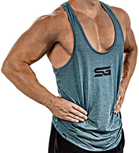 Satire Gym Fitness Stringer Herren - Funktionelle Sport Bekleidung - Geeignet Für Workout, Training - Tank Top (Petrol meliert, S)