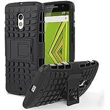 Motorola Moto X Play Phone Funda - MoKo Heavy Duty Rugged Dual Layer Armor con Kickstand Protective Funda para Moto X Play Smartphone 2015 Edition, Negro (Not for Moto X Previous Generations)