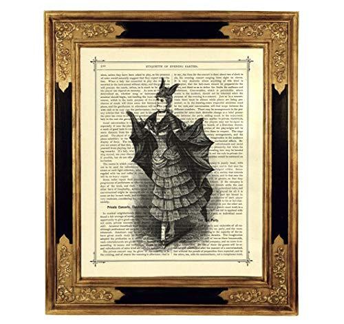 Vampirin Kostüm Gothic - Vampir Dame Umhang Kostüm Kunstdruck auf viktorianischer Buchseite Geschenk Halloween Deko Gothic Steampunk ungerahmt