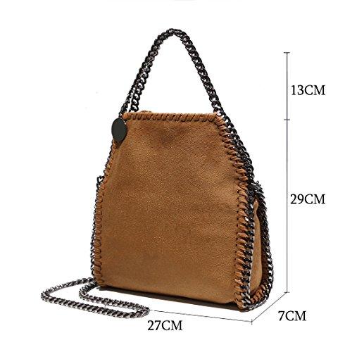 Artone Damen PU lässigen Kette Tragetasche Schultertaschen Schwarz Khaki Crossbody-Tasche Handtasche Passen IPad Mini