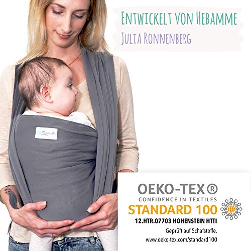 Tragetuch aus Baumwolle von Hebamme - Babytragetuch - Baby Sling Carrier für Neugeborene bis 15 kg - Babytuch 5m lang - inklusive Aufbewahrungsbeutel & Bindeanleitung - hellgrau