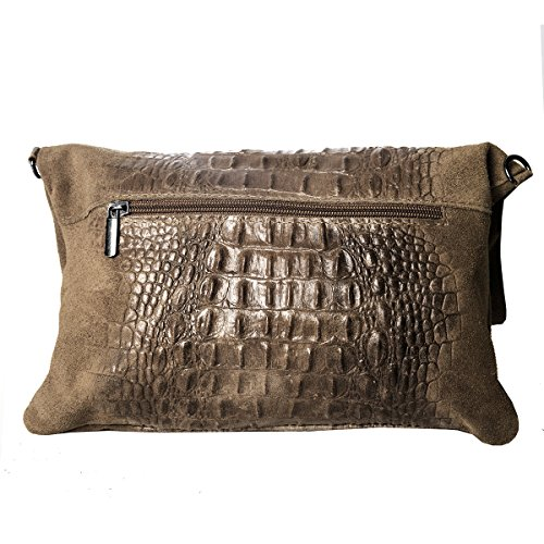 Clutch ,Borse a spalla (28 / 19 / 4 cm ) in pelle Mod. 2059 by Fashion-Formel Powder /Croco