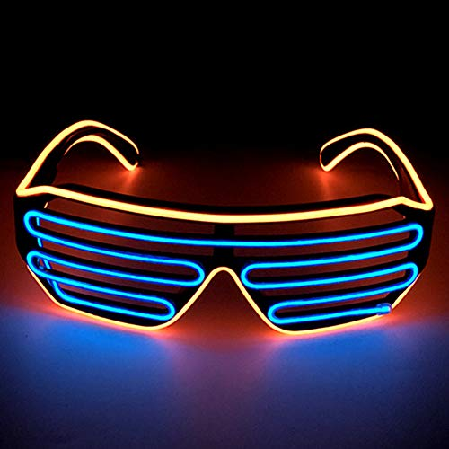 axaya zweifarbiges EL-Draht-LED-Licht für Party-Brille, DJ, helles Licht, Bunte LED, blinkend, für Halloween, Weihnachten, Geburtstag, Party 80er Jahre, Orange/Blau, Voice Control (Mann Im Käfig Kostüm)