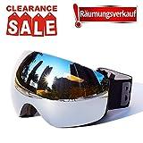 ZABERT Skibrille, Ski Snowboard Brille Brillenträger Schneebrille Snowboardbrille Verspiegelt - Für Damen Herren Frauen Jungen - Mit Sehstärke OTG UV-Schutz Anti-Fog,Schwarz Black Silber