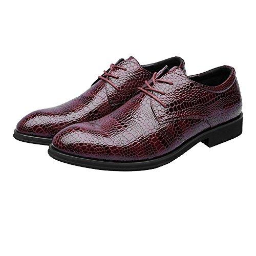 Faux-leder-wein (Fashion Classic Oxford Schuhe Herren PU Schuhe Krokodil Haut Textur Vamps atmungsaktiv Business Low Futter bequeme rutschfeste Oxford-Schuhe Retro Temperament Oxfords ( Color : Wein , Größe : 38 EU ))