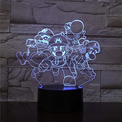 t 7 Farben dimensionale Basketball Licht, optische Nachtlichter, Tischlampe Atmosphäre Dekoration, Kinder Geburtstagsgeschenke, Super Mario ()