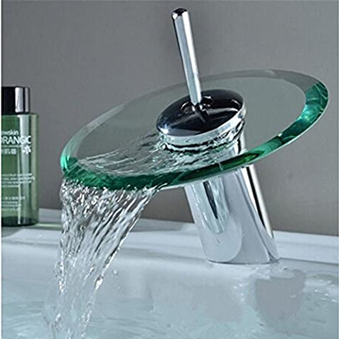 Contemporary New Single Handle Round Glass Spout Waterfall Bathroom Sink