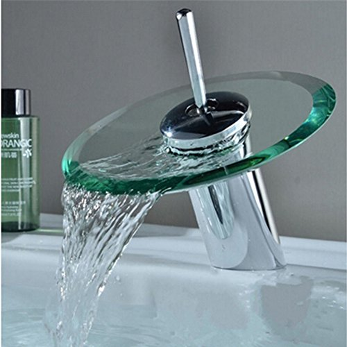 Einhand-Runde Glasauslauf Wasserfall Waschbecken Wasserhahn Chrom-Finish Badewanne Mischer-Hahn-Toilette Vanity Armaturen