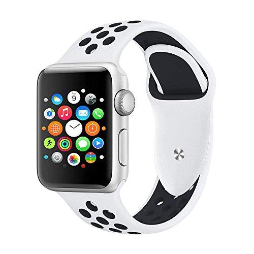 Foto de VODKER para Apple Watch Correa, Silicona Suave Reemplazo Sport Banda para 38mm 42mm iWatch Serie 3/ Serie 2/ Serie 1, Nike+, Sport, Edition - Blanco/Negro 42mm