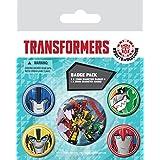 Transformers - Robots In Disguise Faces, 1 X 38mm & 4 X 25mm Chapas Set De Chapas (15 x 10cm)