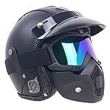 EM Helmets ZR casque de moto, casque Jet, casque Bol, lunette pour casque de moto/scooter, protection faciale Homologué (M(57-58CM))