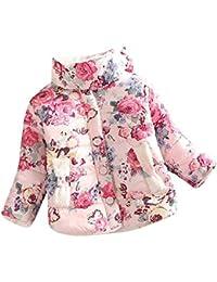 ZODOF Chaqueta de Abrigo de los niños Niños niño niña Flores Abrigo Chaquetas Invierno Gruesa Top Chaleco Coat Coat