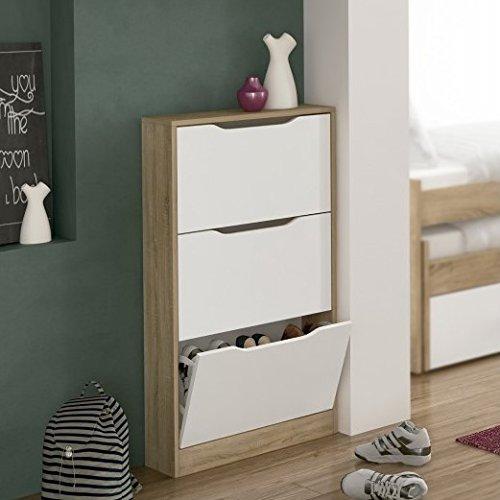 SERMAHOME- Mueble Zapatero de madera juvenil modelo Winner color Blanco/Cambrian. Medidas: 108 x 60 x 17 cm.