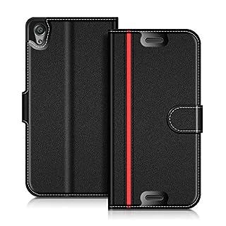 Coodio Sony Xperia X Hülle Leder Lederhülle Ledertasche Wallet Handyhülle Tasche Schutzhülle mit Magnetverschluss / Kartenfächer für Sony Xperia X, Schwarz/Rot