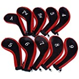 Set Of 10 Red & Black Golf Club Zipper Head Covers Iron Protective Headcover