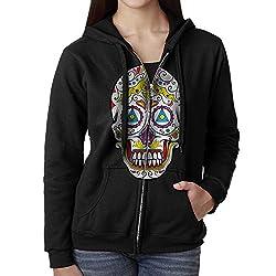 Sugar Skull Women's Zip Up Pullover Hoodie, Hooded Sweatshirt