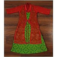 THE LITTLE EMPORIO Sanganeri Bandhej Stampato Long Dress con chiffon khadi lavoro giacca Cotone