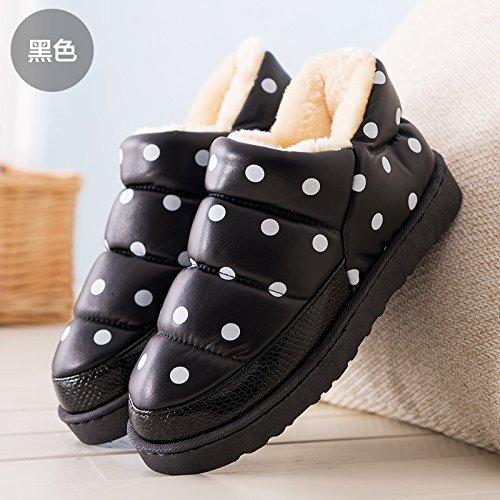 DogHaccd pantofole,Le coppie pelle pu cotone impermeabile pantofole uomini e high-pack con un soggiorno invernale indoor, caldo scarpe eleganti Nero rotondo3