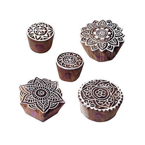 Tallado Mano Forma Mandala y Redondo Madera Sellos para Imprenta (Set de 5)