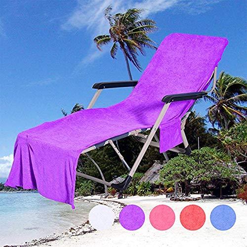 QCWN Strandstuhl-Abdeckung, Mikrofaser, für Poolliege, Liegestuhl, Sonnenliege, Urlaub, Garten, Sonnenliege, Matte mit Taschen