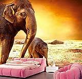 Mkkwp Kundenspezifischer Mutterelefant Und Babyelefant Unter Sonnenuntergangtapetenwandhotelwohnzimmersofa Fernsehwand-Schlafzimmerwandbild 3D-140x100cm