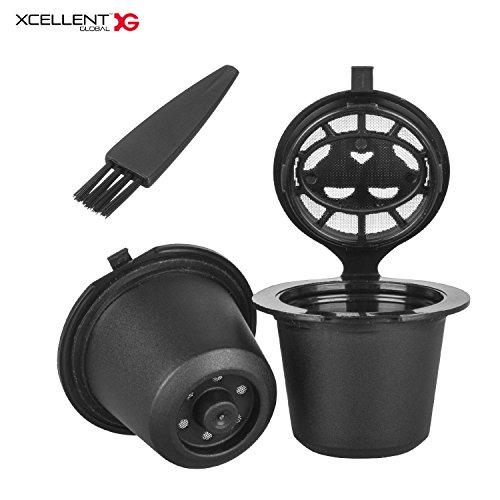 Xcellent Global 2er Pack Wiederverwendbare Kaffee Kapseln Filter für Nespresso Maschinen Kaffeepads HG226