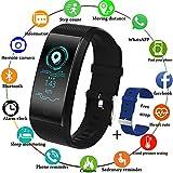 LIGE Fitness Trackers,Montre Connectée étanche Bracelet Sportif Intelligent Podomètres Moniteur de fréquence Cardiaque du Sommeil Hommes Madame Noir Trackers d'activité pour Android iOS+Bleu Sangle