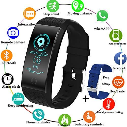LIGE Fitness Tracker Braccialetto Intelligente Sportivo Impermeabile Pedometro Monitoraggio del Sonno Cardiofrequenzimetro Uomini Donne Bambini Nero Activity Tracker per Android iOS+Cinturino Blu
