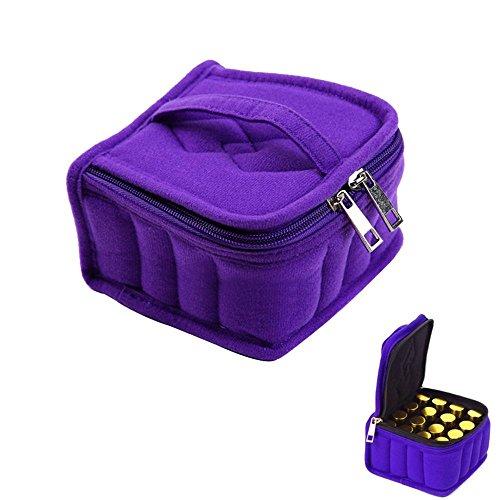 niceEshop(TM) Sac de Stockage et Sac de Rangement Portable avec 16 Compartiments pour Bouteilles d'Huile Essentielle (Violet)