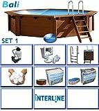 Interline 50700211 Bali Auf-und Erdeinbau POOLSET 1 Holzwand Rund Pool 4,40m x 1,36m, Filteranlage mit Filterbällen 6m³/h (besser als reine Sandfilteranlage)