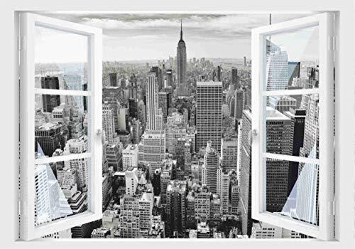 Skins4u Fenster 3D Optik Wandtattoo Wandbild Aufkleber Dekoration Bild Foto Tapete Motiv New York Manhatten