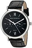 French Connection Men's 'Harley' Quartz Stainless Steel and Leather Automatic Watch, Color:Black (Model: FC1223BBA)
