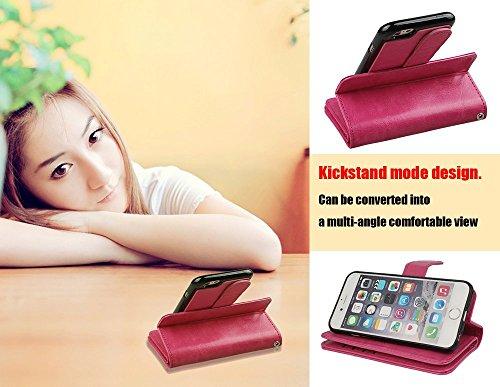 xhorizon FX 2 in 1 leder Mappen Kasten mit [9 Kartensteckplätze] Magnetisch Abnehmbare Geldbörsen Folio Flip Tasche Kasten mit Kartenhalter für iPhone 6 6s Plus(5.5 Zoll)-Rosa Rosa